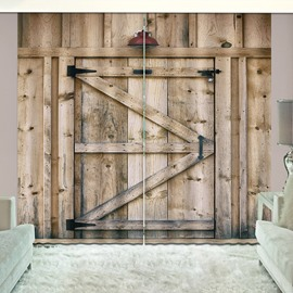 3D Printed Rustic Country Barn Wood Door Vintage Rustic Theme Curtain