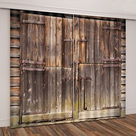 3D Rural Theme Barn Wood Door Printed Curtains