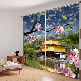 Peach Blossom Green Tree and Pavilion Lake View Picture Print Curtain