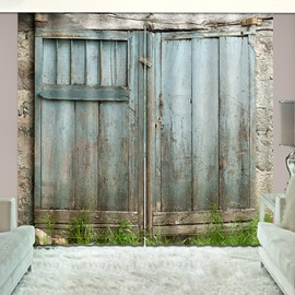 3D Scene Rustic Country Theme Wooden Barn Door Printed Curtains