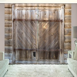 3D Rustic Wooden Barn Door Farmhouse Printed Curtains