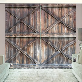 3D Rustic Design Wooden Barn Door Printed Curtains