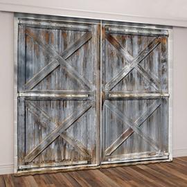 3D Printed Rustic Country Barn Wood Door Vintage Theme Curtain