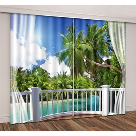 3D Seaside Island Green Coconut Palm Forest Balcony Decoration Printed Curtain