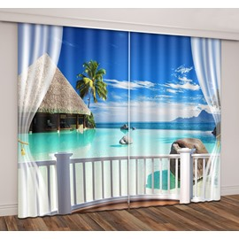 3D Tropical Seaside Island Coast Romantic Travel Printed Curtain