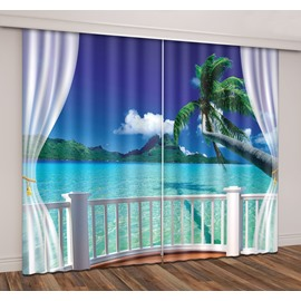 3D Printed Seaside Blue Sky Green Coconut Palm Curtain