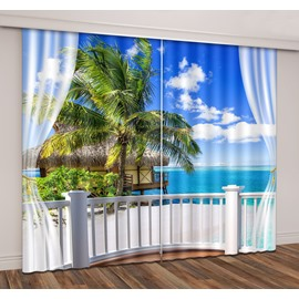 3D Printed Seaside Island Green Coconut Palm Curtain