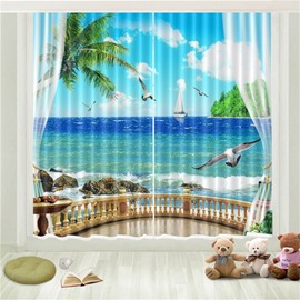 3D Tropical Sea Gull Seaside Beach Blue Sky White Cloud Printed Curtain
