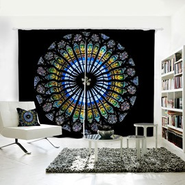 3D Printed Vivid and Colorful Pattern Polyester Curtain