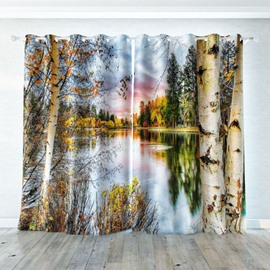 3D Room Darkening Anti Bacterial Waterproof Fabric Curtains 260g ㎡ Thick Polyester Anti-ultraviolet Effect 2 Panel Set 87 Inches Wide and 84 Inches Long No Pilling No Fading No off-lining