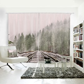 3D Waterproof Polyester Train Tracks and Forest Pattern Printed Curtain