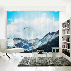Blue Sky Snow Mountain and Parachute Pattern 3D Polyester Curtain
