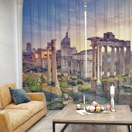 Blue Sky with White clouds and Ancient Buildings Pattern 3D Polyester Curtain