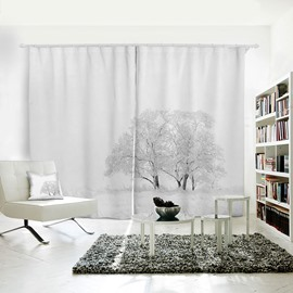 Snow-covered Grassland and Small Trees Pattern 3D Polyester Curtain