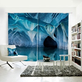 Blue Lake and Cave Pattern 3D Polyester Curtain