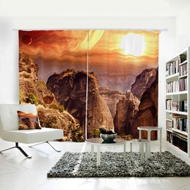 Sunset Mountains and Red Glow Pattern 3D Polyester Curtain