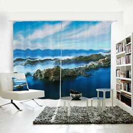 Blue Sky with White Clouds and High Mountains Pattern 3D Polyester Curtain