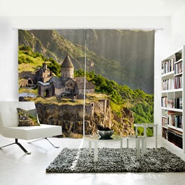 3D Waterproof Mountains and Ancient Castle Pattern Polyester Curtain