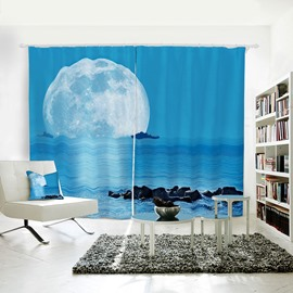 Sea with Moon and Boat Pattern 3D Polyester Curtain