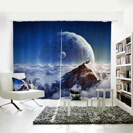 Planet and Cloudy Mountains Pattern 3D Polyester Curtain