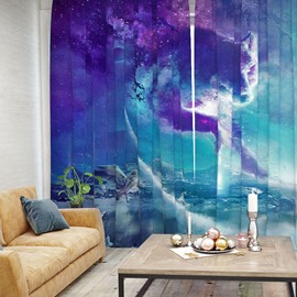 3D Blue Sea Starry Sky and Fox Pattern Printed Curtain