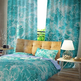 3D Cool Blue Sea Water Pattern Printed Curtain
