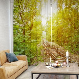 3D Train Tracks in the Woods Pattern Printed Curtain