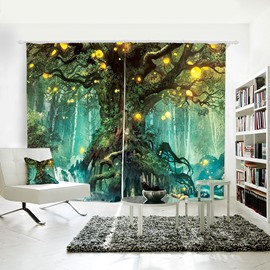 3D Printed Window Curtains Fairy Fantasy Large Tree Decorative Blackout Custom 2 Panels Drapes No Pilling No Fading No off-lining