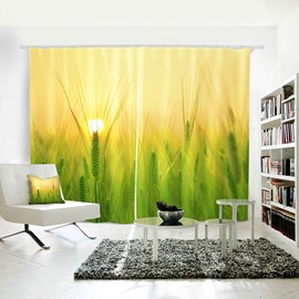 3D Blackout Wheat Plant Pattern Digital Printing Curtains