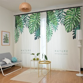 Waterproof Green Exotic Monstera Leaves Polyester Fabric Curtain