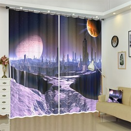 Majestic Galaxy Outer Space View 3D Curtains for Living Room Bedroom