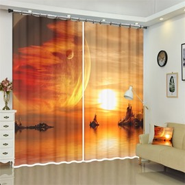 Planet Earth Astronomic Planets 3D Curtains for Living Room Bedroom