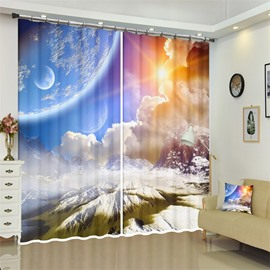 3D Outer Space Galaxy Celestial Astronomic Planets Theme Curtains