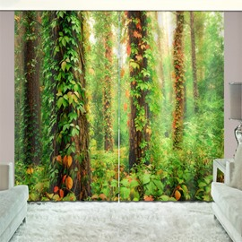 3D Blackout Grass and Green Woods Natural Drapes Print Curtain