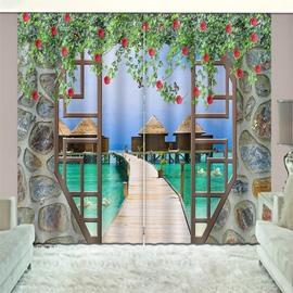 3D Tropical Travel Seaside Beach Blue Sky Printed Curtain