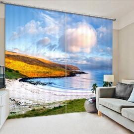 Beddinginn Blackout 3D White Clouds and Blue Sky Decoration Creative Curtain