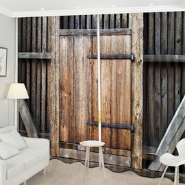 Beddinginn Blackout Wooden Door Decorations Curtain