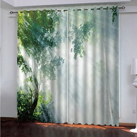 3D Blue Trees with Morning Sunlight Printed Blackout Custom Scenery Curtains