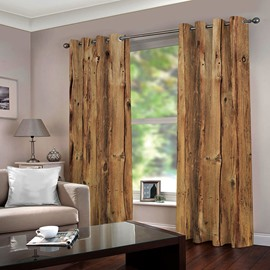 3D Printed Rustic Country Barn Wood Door Vintage Rustic Theme Blackout Curtain
