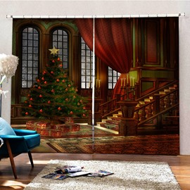 Christmas Classic 3D HD Print Blackout and Decorative Living Room Curtain