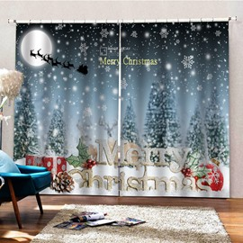 3D Christmas Snow Night Printed Blackout Curtain Festival Home Decor