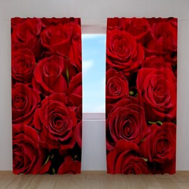 3D Bright Red Roses Printed Romantic Style Polyester Custom Curtain for Living Room