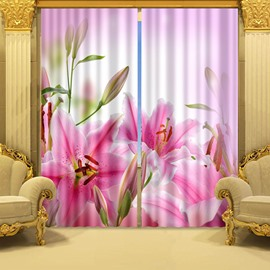 3D Beautiful and Charming Lily Flowers Printed Fresh Style 2 Panels Decorative Curtain