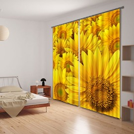 Mustard Yellow 3D Beautiful and Vivid Sunflowers Printed Thick Polyester Custom Shading Curtain