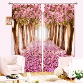 3D Pink Flowers Trees and Road Printed Romantic Style Blackout and Decorative Curtain