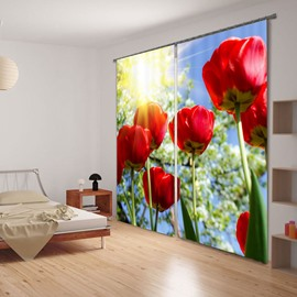 3D Gorgeous and Charming Red Rose with Sunlight Printed Decorative and Blackout Curtain