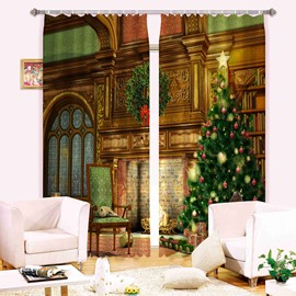 3D Christmas Theme Decor Tree and Retro Castle Printed Polyester 2 Panels Custom Curtain