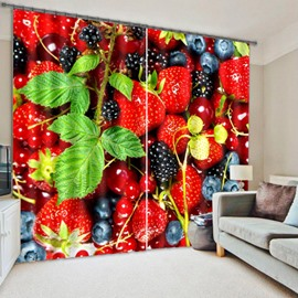 3D Strawberry Polyester Energy Saving Curtain