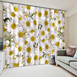 3D Sun Flowers Printed Pastoral Style Custom Polyester Energy Saving Curtain