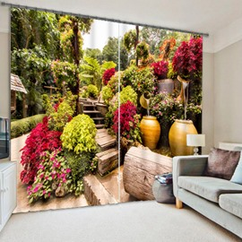 Elegant Garden with Flowers Printed Polyester Custom 3D Curtain for Living Room